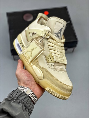 "Off-Whitex Air Jordan 4 ""Cream/Sail""""OW AJ4联名沙浅棕米-莆田鞋网"